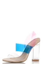 Quiz Pink And Blue Multi Strap Clear Heel Sandals