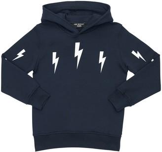 Neil Barrett Thunder Print Cotton Sweatshirt Hoodie