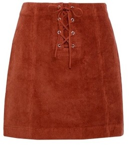 Dorothy Perkins Womens Lola Skye Orange Corduroy Lace Skirt, Orange