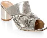 Glamorous Metallic Crackle Peeptoe Mules