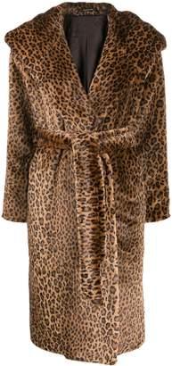 Tagliatore leopard print wrap coat