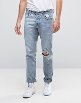 Asos Slim Jeans In Bleach Wash With Rips And Distressed Waistband