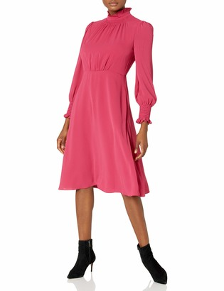 Maggy London Women's Catalina Crepe Long Sleeve Soft Bow Neck with Smocking Details