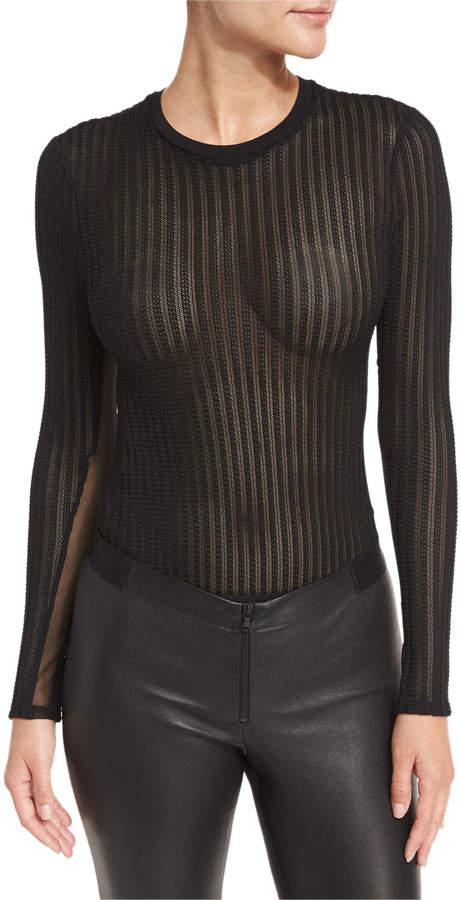 Cinq à Sept Paige Crewneck Long-Sleeve Sheer Mesh Bodysuit