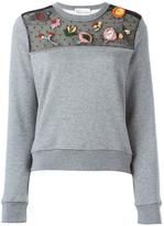 RED Valentino embroidered lace detail sweatshirt - women - Silk/Cotton/Polyamide/Viscose - XS