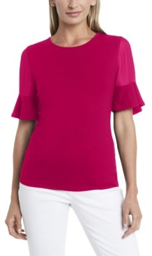 Vince Camuto Plus Size Flutter Sleeve Mix Media Top with Chiffon Inset