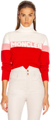 Moncler Tricot Cyclist Sweater in Crimson, Pink & White | FWRD
