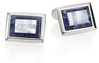 David Donahue Sterling Silver, Sodalite & Mother of Pearl Cuff Links
