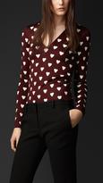 Heart Print Stretch-Silk Sweater