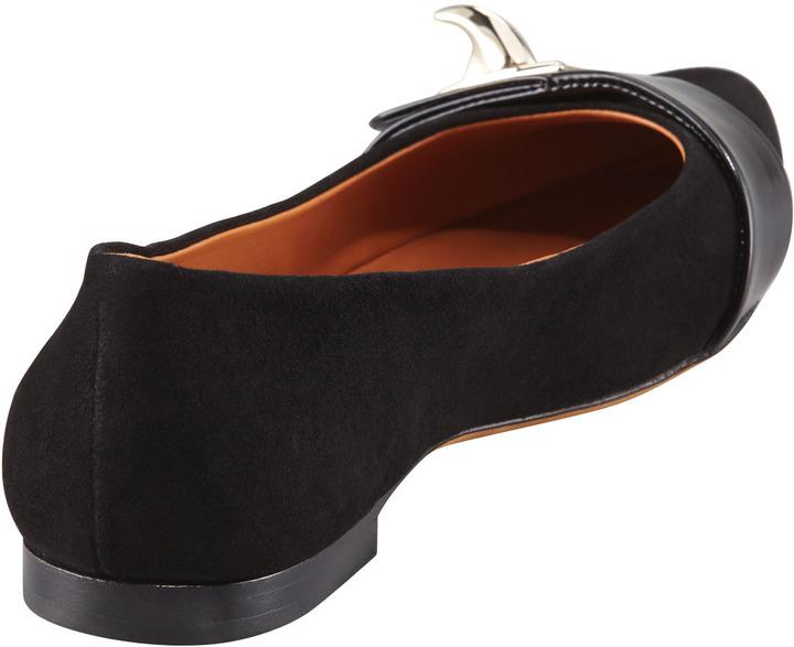 Givenchy Suede Shark-Lock Ballerina Flat, Black