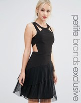 True Decadence Petite Strappy Ruffle Hem Skater Dress