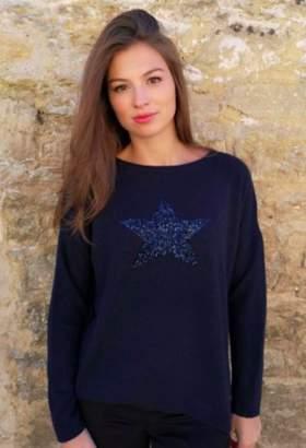 Luella Cashmere blend navy sequin star sweater - one size