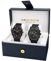 Akribos XXIV Men's AK885BK Quartz Multifunction Strap and Bracelet Watch Set
