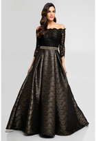 Terani Couture 1723E4271 Quarter Sleeves Off Shoulder Evening Gown