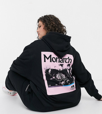 Collusion Plus exclusive hoodie with monarch back print in black co