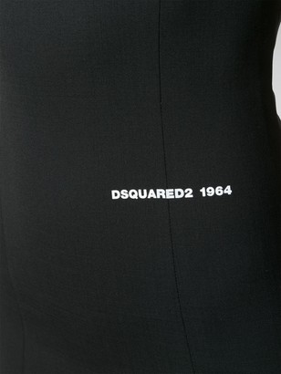 DSQUARED2 Padded Shoulder Sleeveless Logo Dress