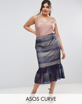 Asos Lace Pencil Skirt with Pep Hem