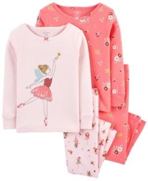 Carter's Baby Girls Snug Fit Pajamas Set, 4 Piece