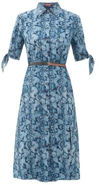 Altuzarra Narcissa Python-print Silk-crepe Dress - Womens - Blue