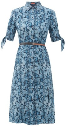 Altuzarra Narcissa Python-print Silk-crepe Dress - Blue