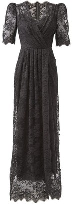 Dolce & Gabbana Puff-sleeve Cotton-blend Chantilly-lace Gown - Black