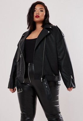 Missguided Plus Size Black Boyfriend Biker Faux Leather Jacket