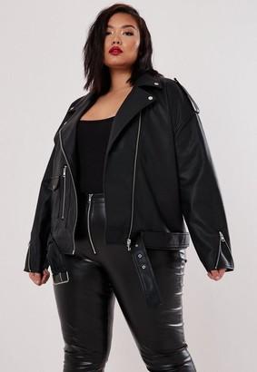 Missguided Size Black Boyfriend Biker Faux Leather Jacket