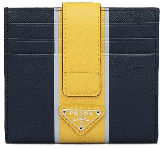 Prada Saffiano strap detail card holder