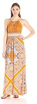 London Times Women's Sleeveless Chain Print Keyhole Halter Maxi