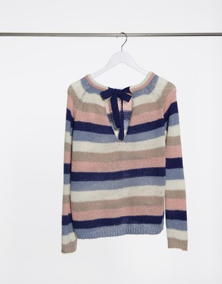 Vila round neck knitted jumper in grey stripe