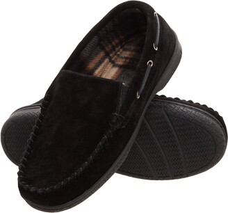 Heat Edge Mens Memory Foam Suede Slip on Indoor Outdoor Venetian Moccasin Slipper Shoe (12