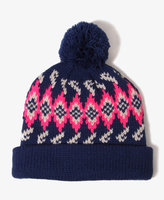 Patterned Pom Pom Beanie