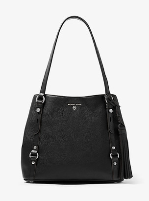 MICHAEL Michael Kors MK Carrie Large Pebbled Leather Shoulder Bag - Black - Michael Kors