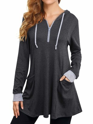 Sexy Dance Womens Long Sleeve T Shirt Tunic Tops with Pocket Lightweight Hooded Zip Neck Casual Loose Pullover Blouse Tees L Grey