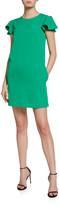 Milly Bryce Ruffle-Sleeve Cady Dress