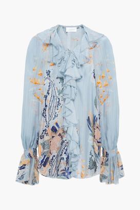 Camilla Lace-up Crystal-embellished Ruffled Printed Silk-chiffon Blouse