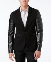 GUESS Men's Harlan Leather-Sleeve Blazer