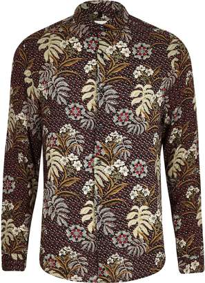 River Island Mens Big and Tall Red floral shirt
