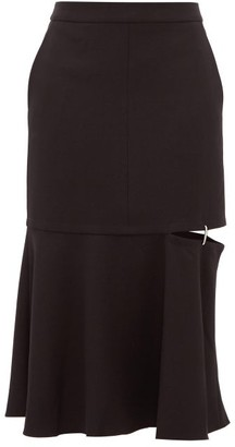 Tibi Anson Cut-out Hem Stretch-jersey Midi Skirt - Womens - Black