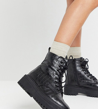 Simply Be extra wide fit lace up boot with cleated sole in croc