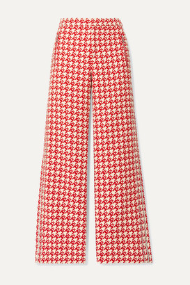 Area Crystal-embellished Houndstooth Wool-blend Wide-leg Pants - Red
