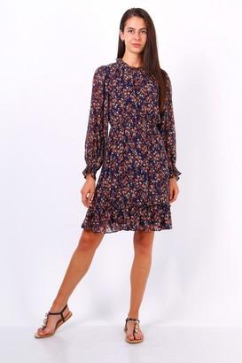Lilura London Navy Ditsy Floral Long Sleeve Frill Hem Dress
