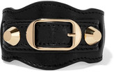 Balenciaga Arena Textured-leather And Gold-tone Bracelet - Black