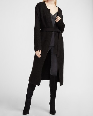 Express Belted Ribbed Duster Cardigan