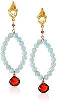 Azaara Filigree Azure Sea 22k Yellow Gold-Dipped, Amazonite, and Garnet Drop Earrings