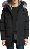 Andrew Marc Freezer Down Parka w/Fur Trim, Jet Black