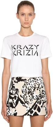 Krizia Logo Printed Cotton Jersey T-shirt