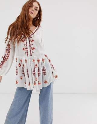 Free People Arianna embroidered tunic blouse-White