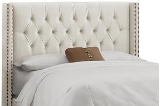 One Kings Lane Monroe Wingback Headboard - Cream Velvet - upholstery, cream; nailheads, brass