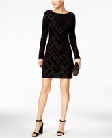 Vince Camuto Long-Sleeve Velvet Burnout Dress